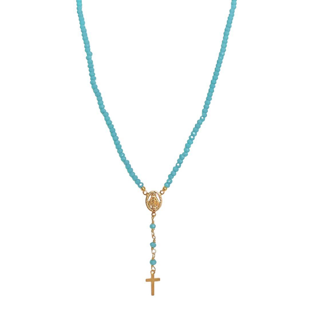 Colar Terço Feminino com Cristais e Medalhas Semijoia Banhada a Ouro 18K