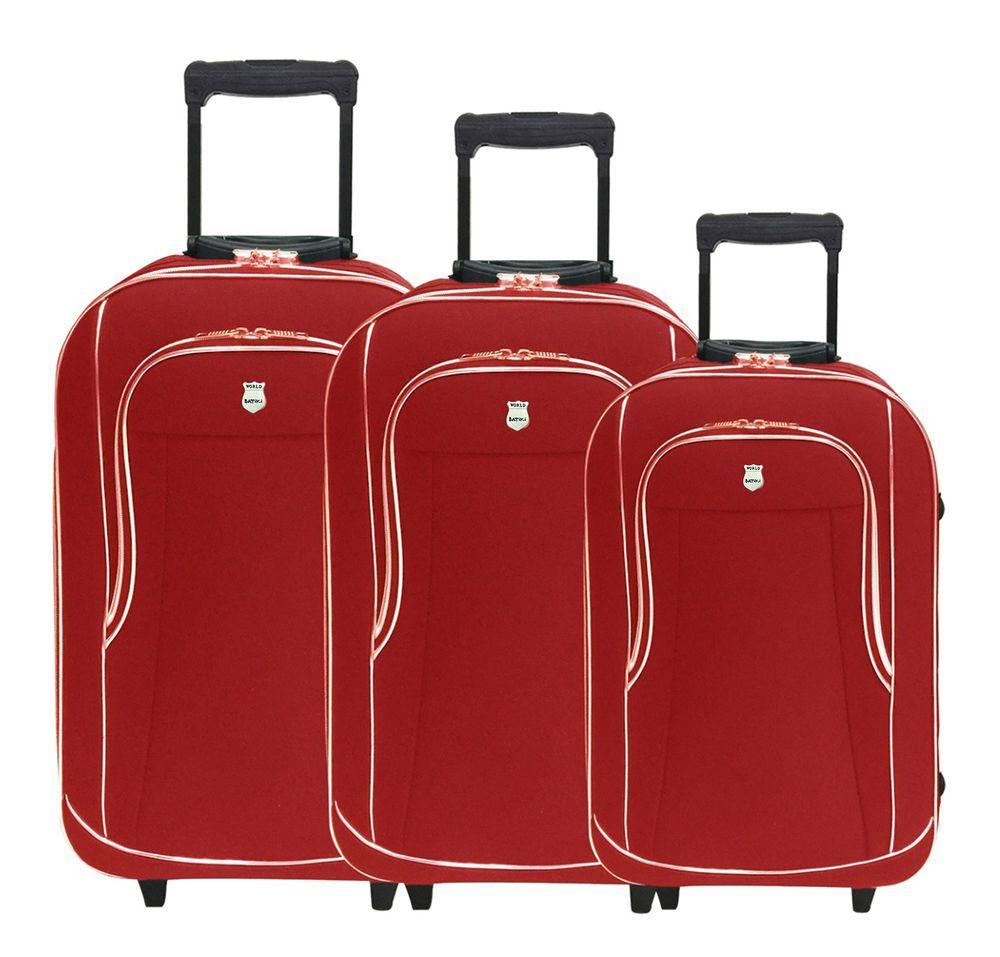 Conjunto Malas de Viagem Batiki Rodinhas e Cadeado Vermelha