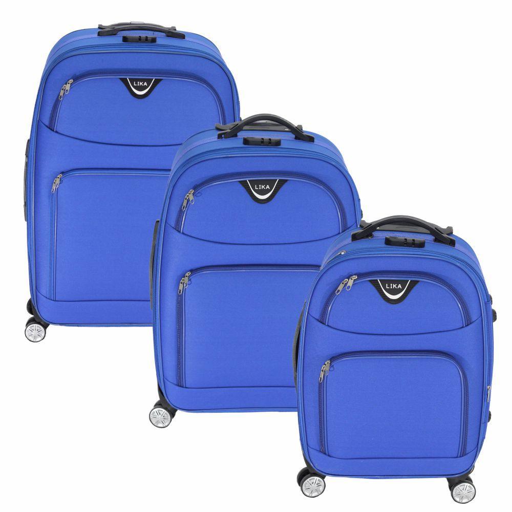 Conjunto Malas de Viagem Lika Rodinhas 360 Expansível Cadeado Azul