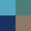 Azul Piscina, Verde Escuro, Azul Marinho e Marrom