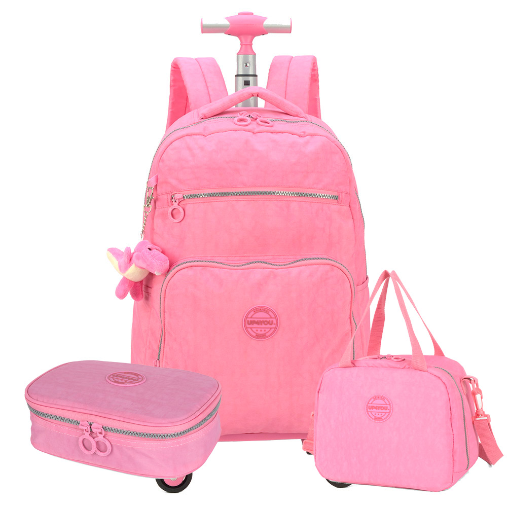 Kit Escolar Completo Tactel 360° Crinkle Up4you Rosa