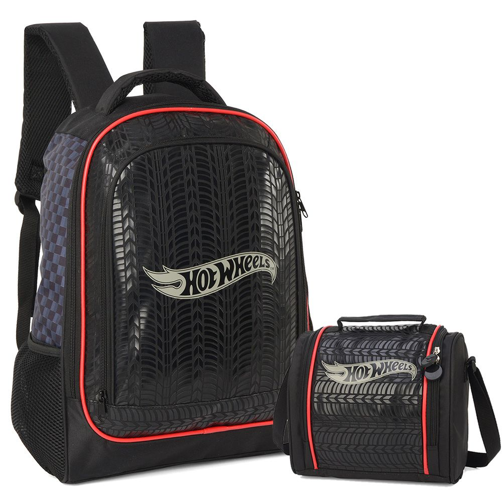 Kit Mochila Escolar e Lancheira Hot Wheels Luxcel Preto
