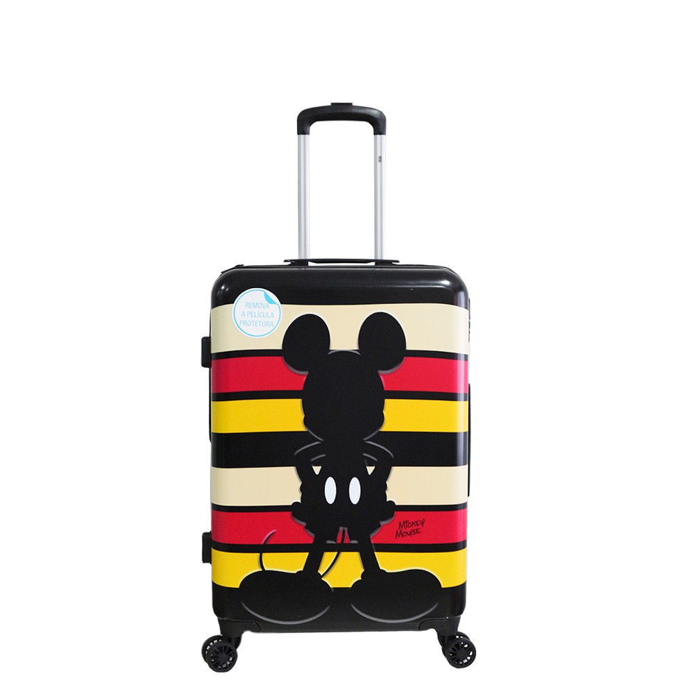 Mala de Viagem Rígida Bordo Pequena 360° Mickey Mouse Disney Listras