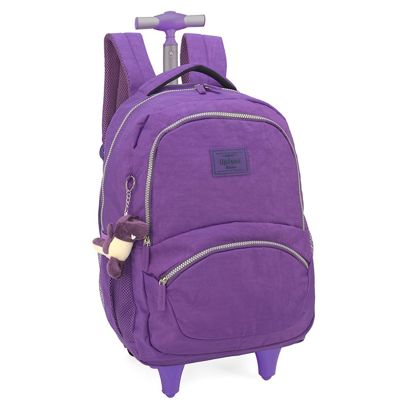 Mochila Escolar Tactel Rodinhas Up4you Notebook Roxa