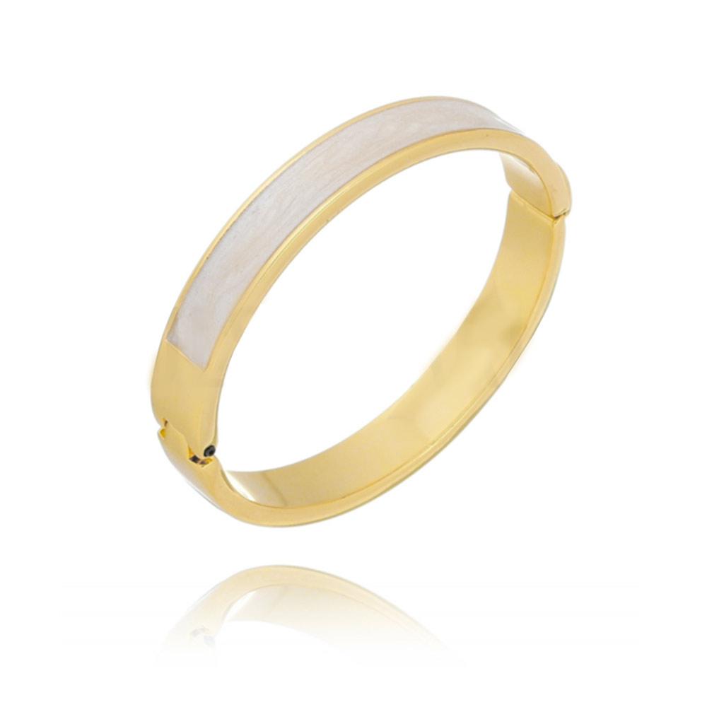 Pulseira Bracelete Esmaltado Folheado a Ouro 18k