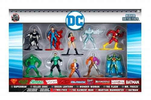 DC Nano Metalfigs - 10 Bonecos - Superman, Batman, Flash Etc