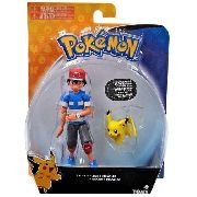 Pokemon - Boneco Ash E Pikachu - 12 Cm - Original Tomy