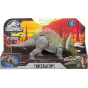 Dinossauro Triceratops c/ Sons Jurassic World Attack Mattel