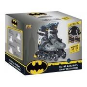 Kit Patins Infantil Com Acessórios Batman Tamanho 33 A 36