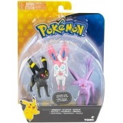 Pokemon - Pack 3 Bonecos - Umbreon, Sylveon E Espeon - Tomy