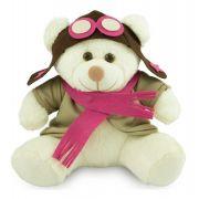 Urso de Pelúcia - Ursinho Aviador  - Branco 30 cm - Toybrink
