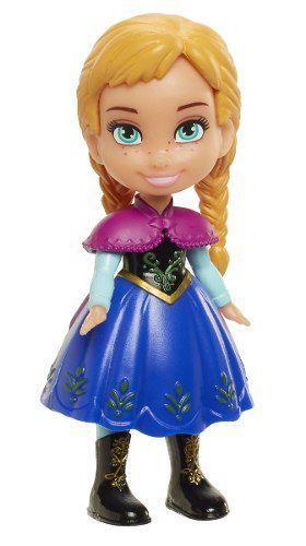 Mini Boneca - Frozen Da Disney - Anna Com A Saia Azul Escuro