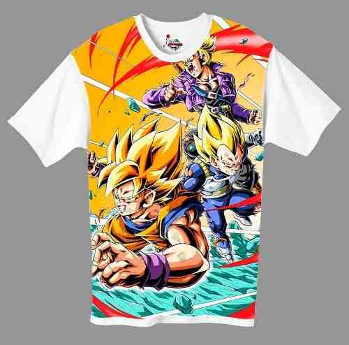 Camiseta Anime - Dragon Ball - Goku, Vegeta E Trunks