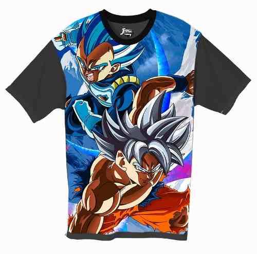 Camiseta Anime - Dragon Ball - Goku Instinto E Vegeta Blue