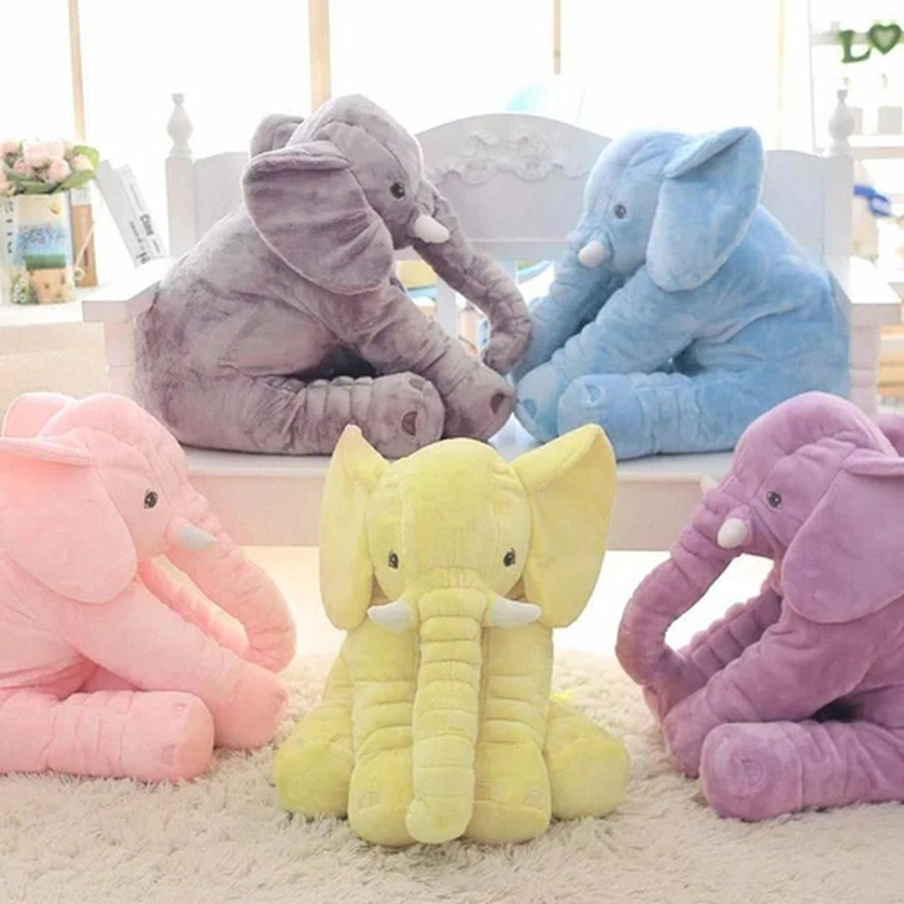 Almofada Elefante Pelúcia 60cm para bebê - 6 cores Toybrink