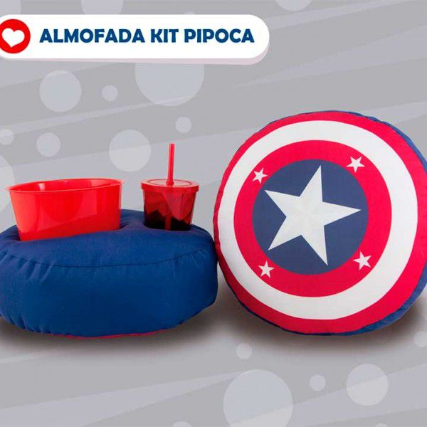 Almofada Kit Pipoca - Capitão América - Escudo - Toybrink