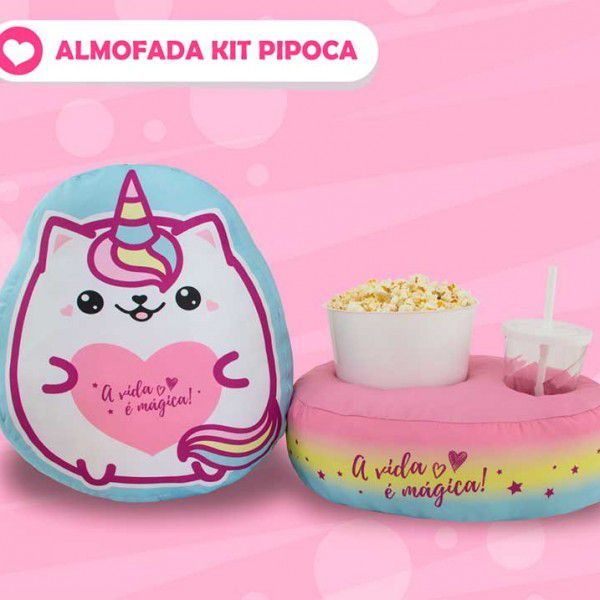 Almofada Kit Pipoca - Catcornio - A Vida é Mágica - Ref 0615