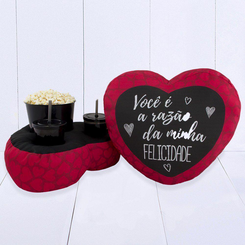 Almofada Kit Pipoca Para Casal Coração - Razão da Minha Felicidade - Ref 0614