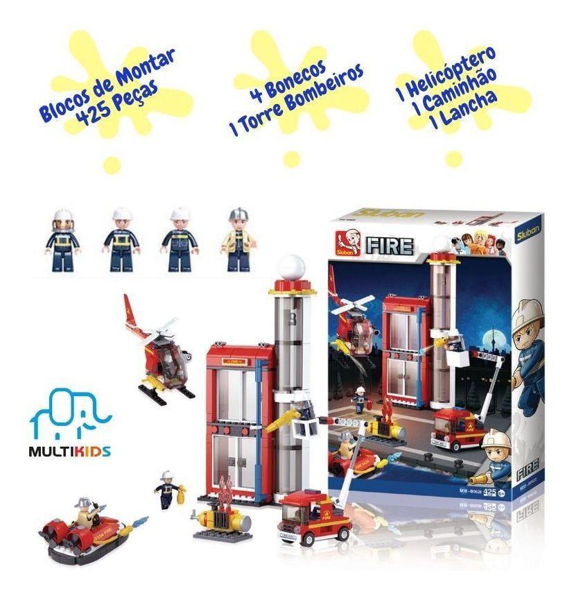 Blocos de Montar Torre de Bombeiro - 425 Peças - Multikids