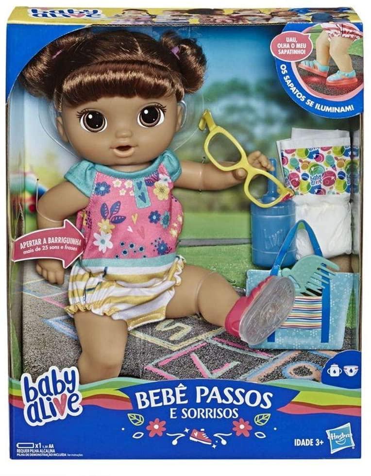Boneca Baby Alive Morena - Sapatinhos Brilhantes - Hasbro E5248