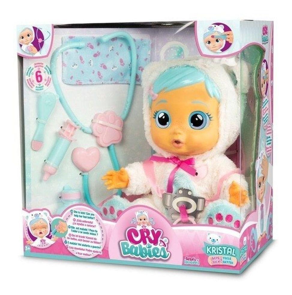 Boneca Kristal Amando e Cuidando  - Cry Babies - Multikids