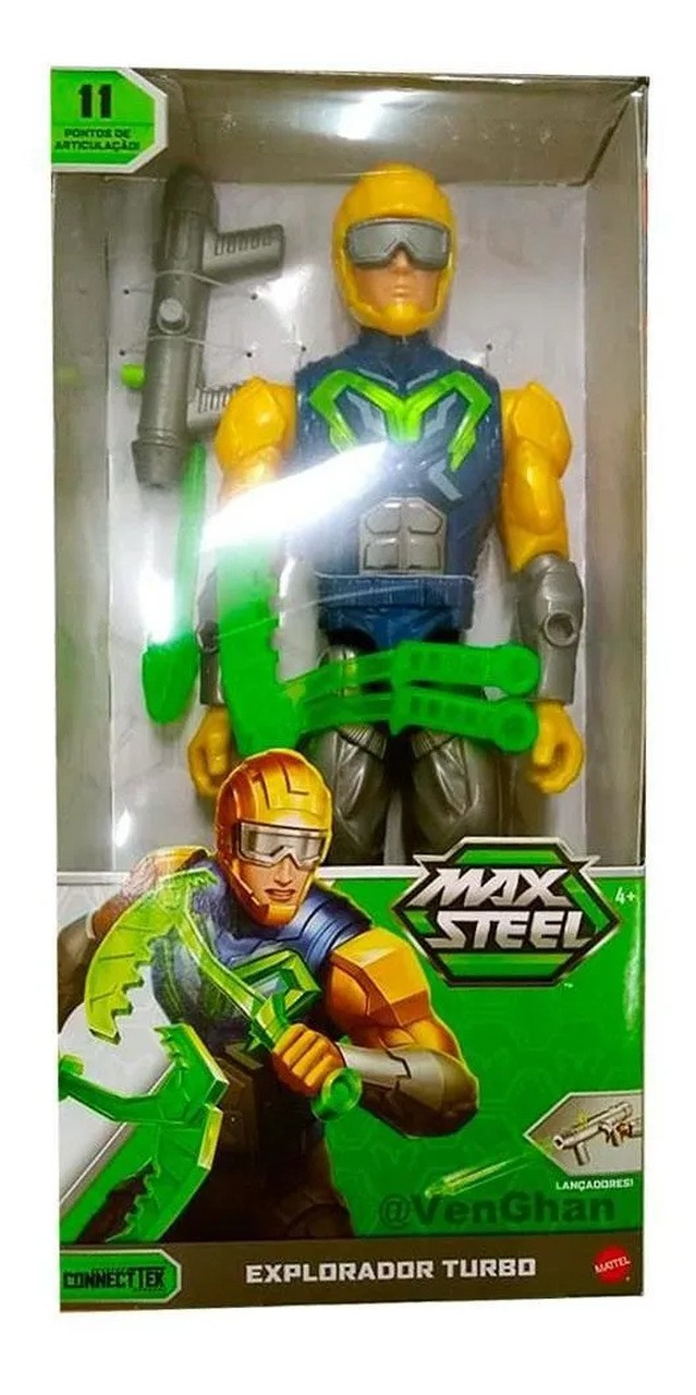 Boneco Max Steel 30cm Explorador Turbo11 Articulações Mattel