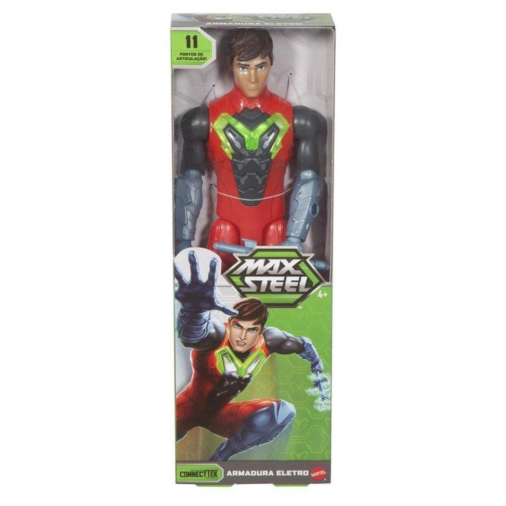 Boneco Max Steel 30cm Armadura Eletro 11 Articulações Mattel