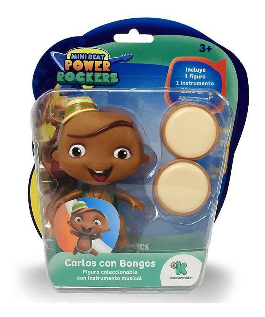 Boneco Mini Beat Power Rockers - Carlos e Instrumento 10cm