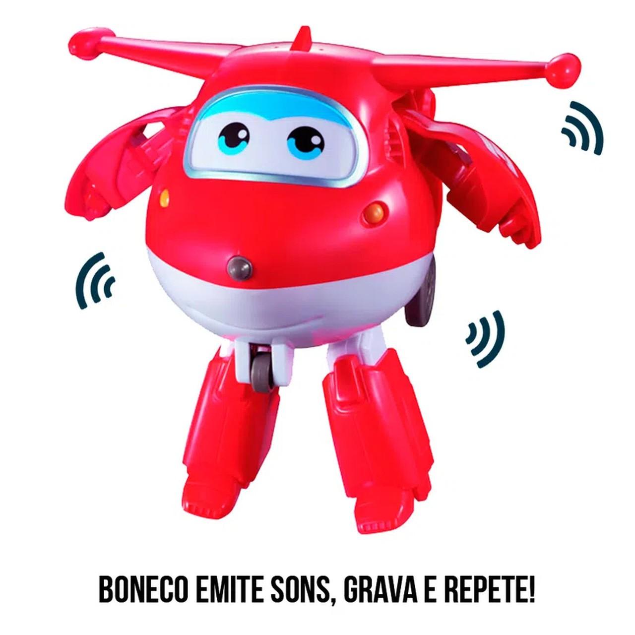 Boneco Super Wings - Jett Grava e Fala 18 cm - Original Fun