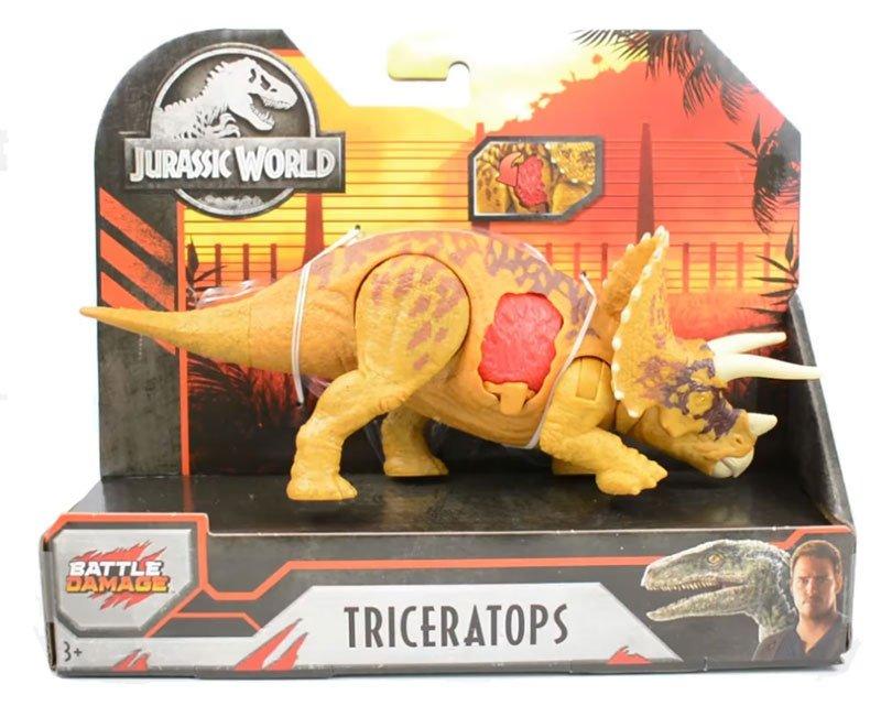 Dinossauro Triceratops Jurassic World Battle Damage - Mattel