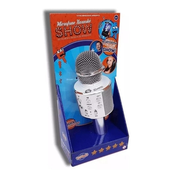 Karaokê Microfone Infantil Branco - Bluetooth Musical Toyng