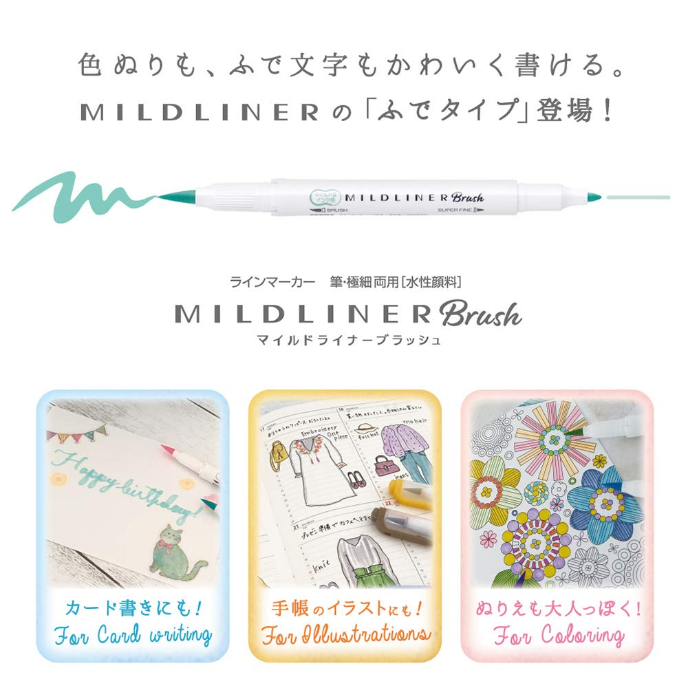 Kit 5 Canetas Zebra Mildliner Bush Mild Pincel - Pack lilas