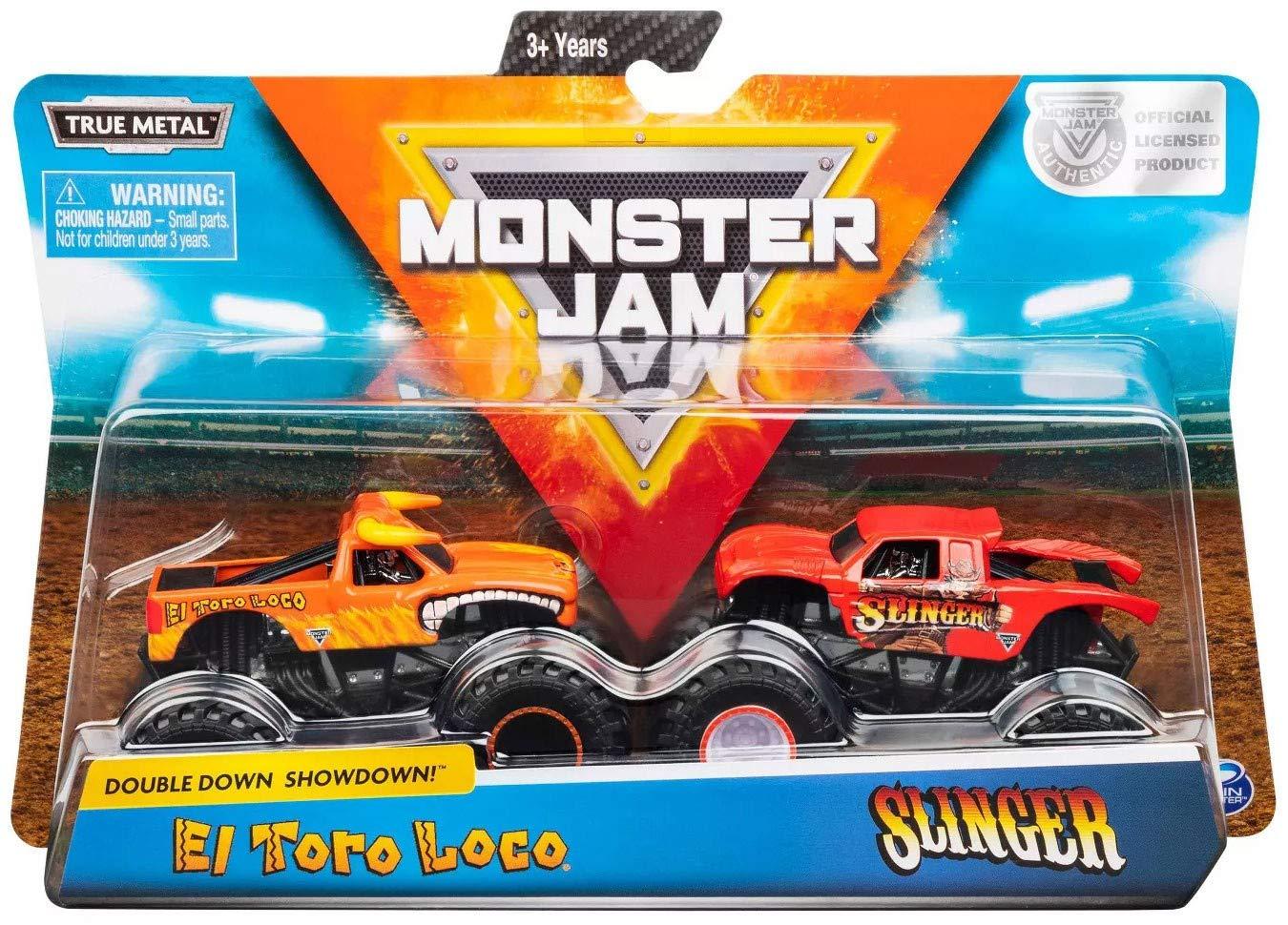 Monster Jam Truck  2 Carros - El Toro Loco Vs Slinger 1:64