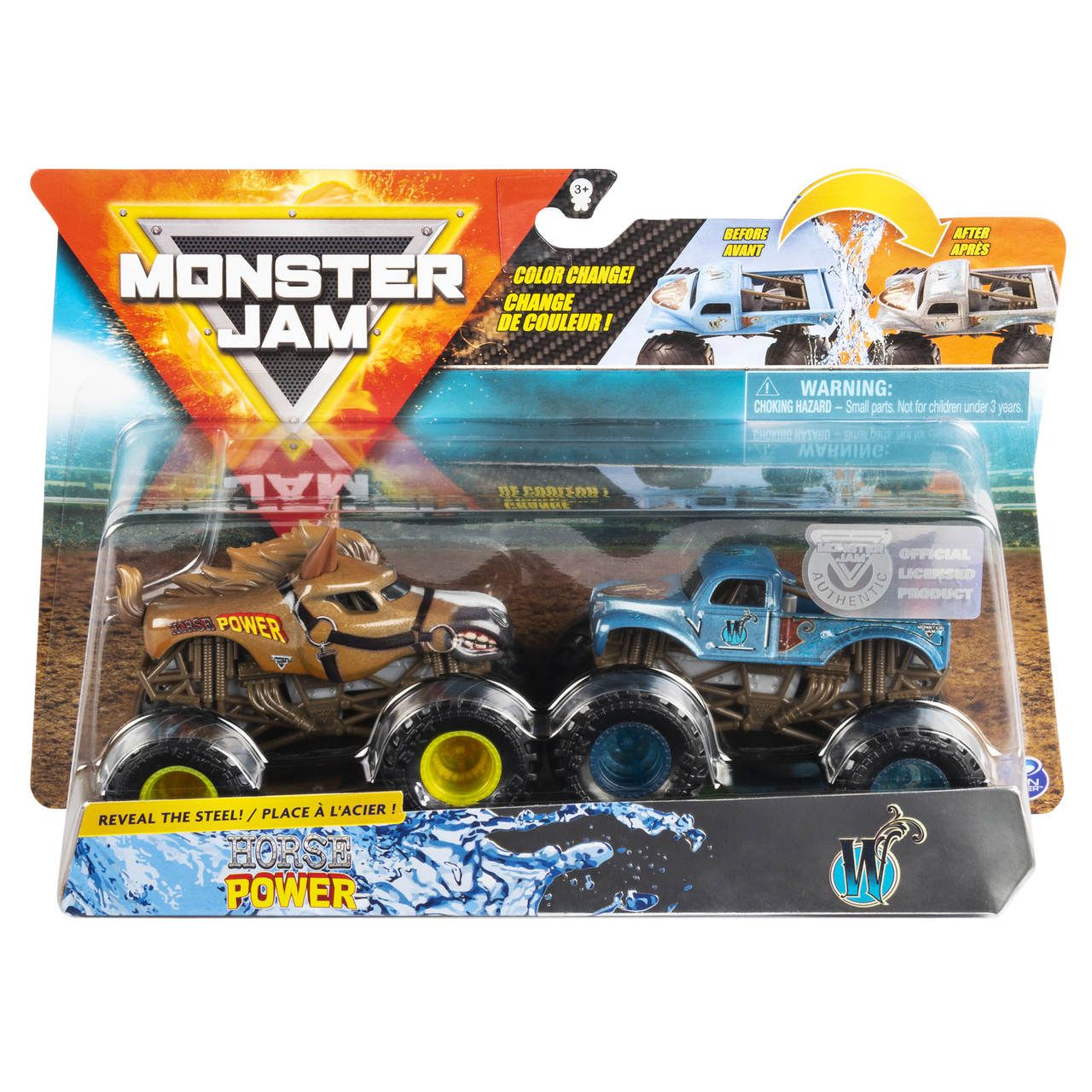 Monster Jam Truck  2 Carros - Horse Power Vs Whiplash 1:64
