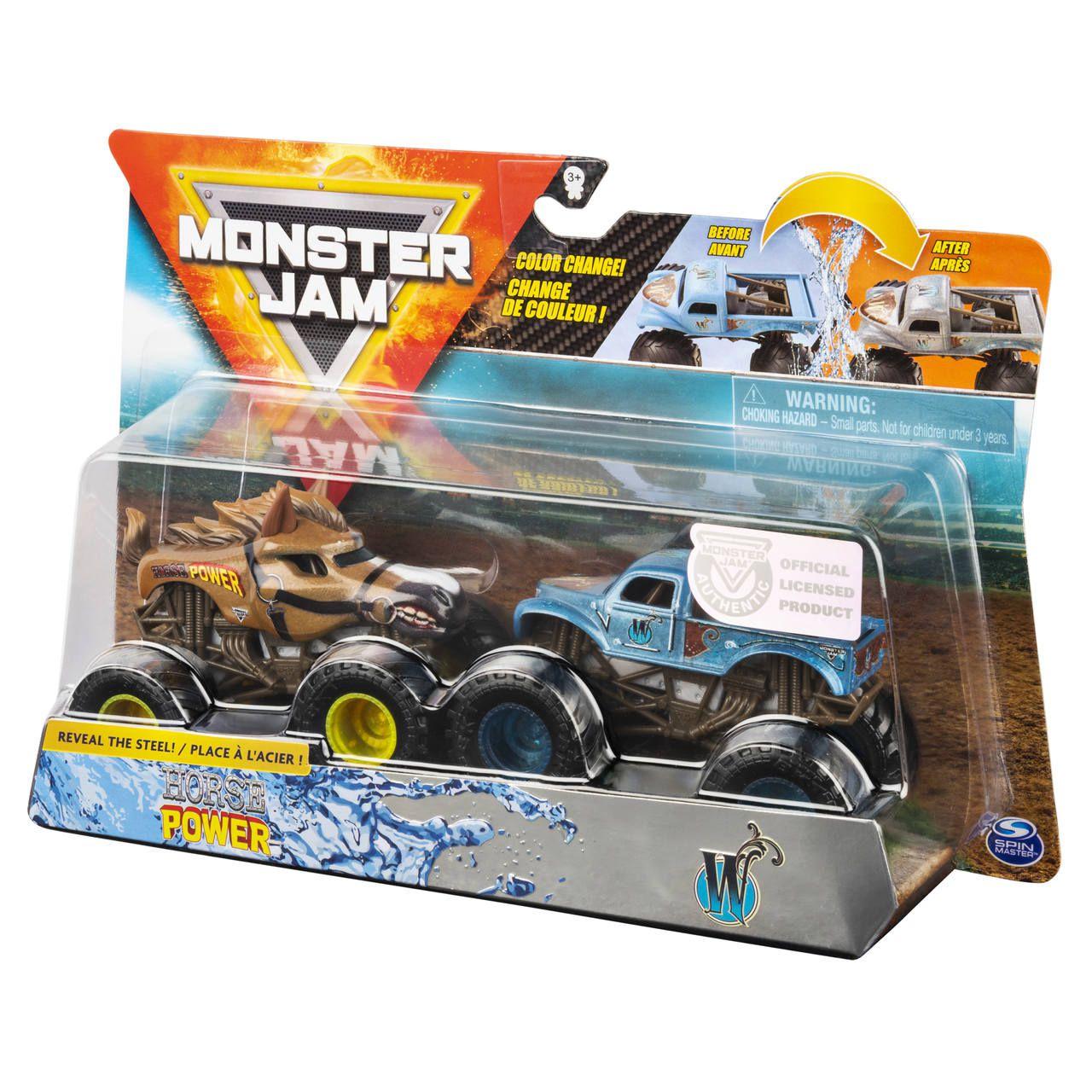 Monster Jam Truck  2 Carros - Horse Power Vs Whiplash 1:64