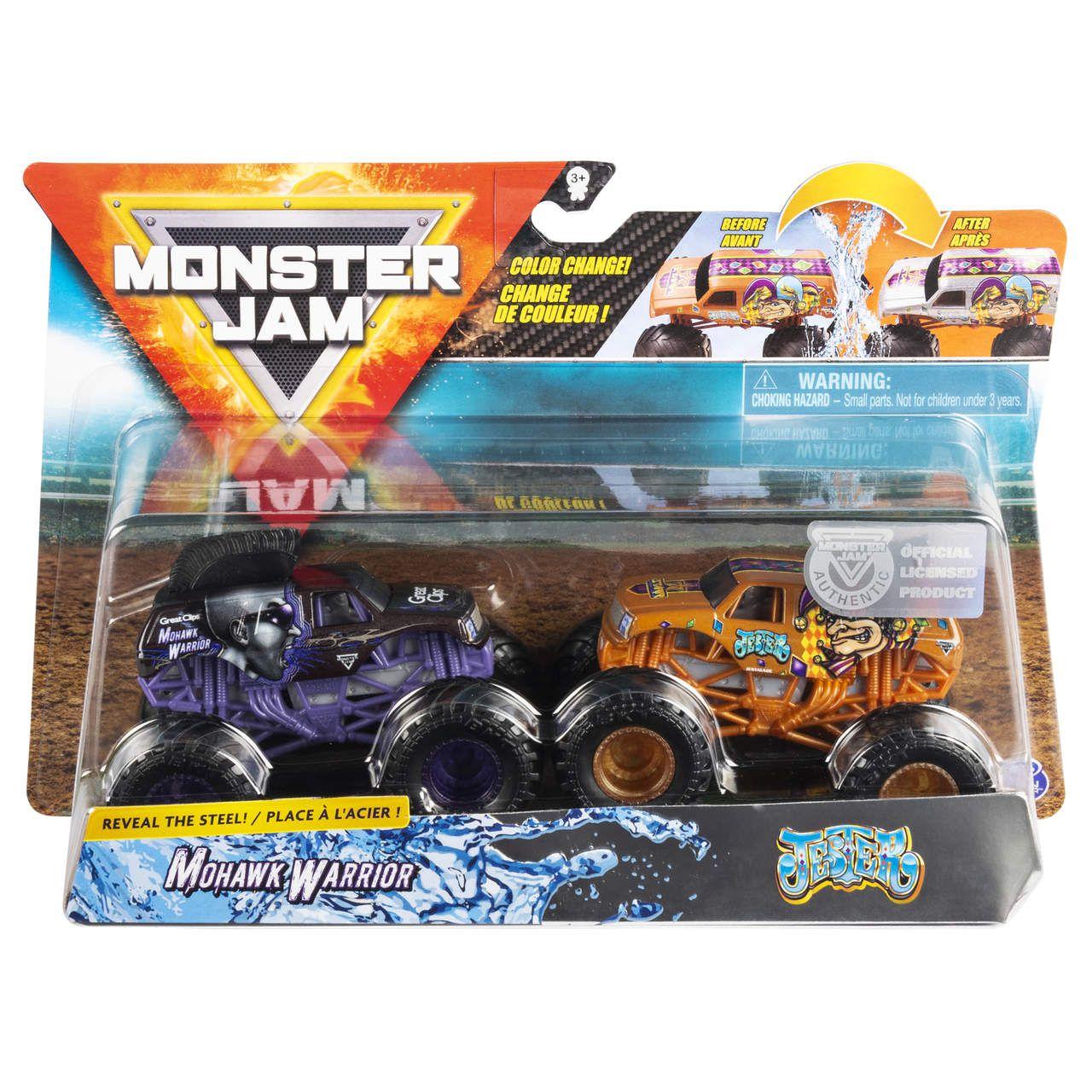 Monster Jam Truck  2 Carros - Mohawk Warrior Vs Jester 1:64