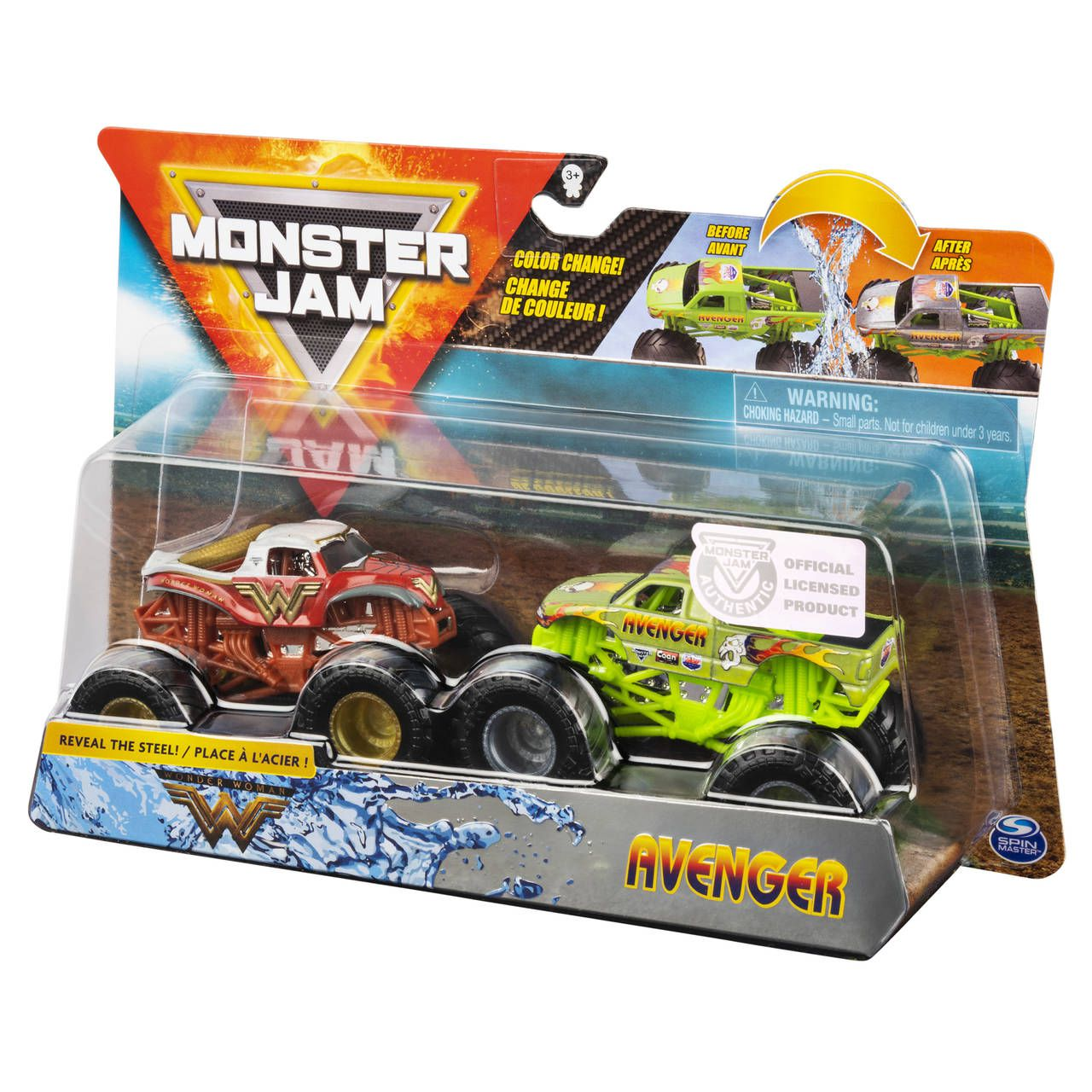 Monster Jam Truck  2 Carros - Wonder Woman Vs Avenger 1:64