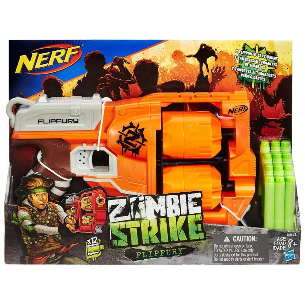Nerf Lançador de Dardos - Flipfury Zombie Strike - 12 Dardos