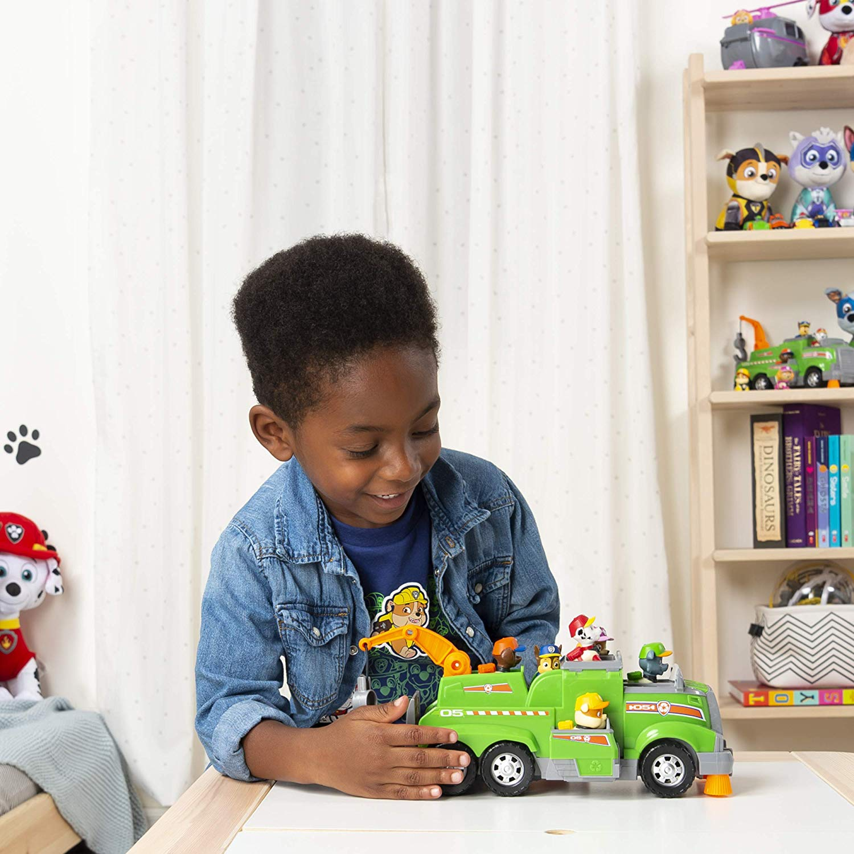 Patrulha Canina - Rocky caminhão de reciclagem de equipe total do Rocky com 6 filhotes  - Sunny Original