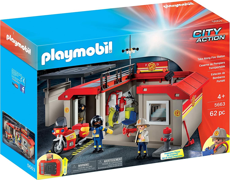 Playmobil 5663 - Posto De Bombeiro - 62 Peças - Original