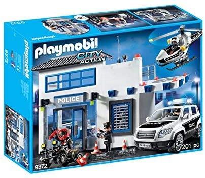 Playmobil 9372 - Posto Policial Com Heliporto - 201 Peças - Original