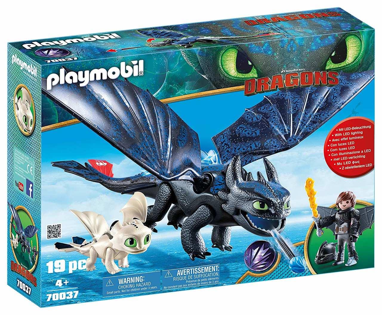 Playmobil - Como Treinar Seu Dragão 3 - Soluço, Banguela e Bebê - 19 peças
