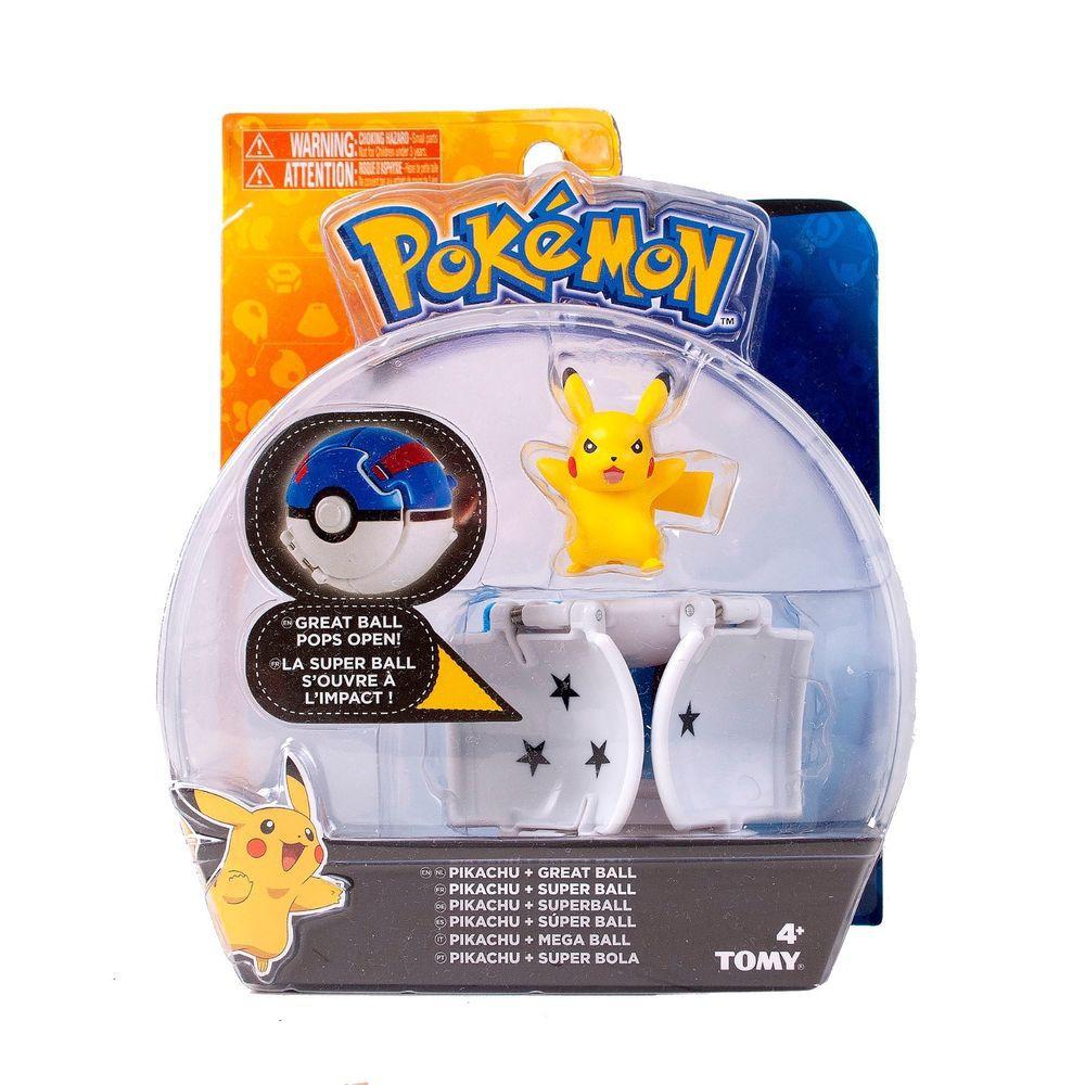 Pokemon - Boneco + Pokebola - Figura Pikachu - Tomy Original