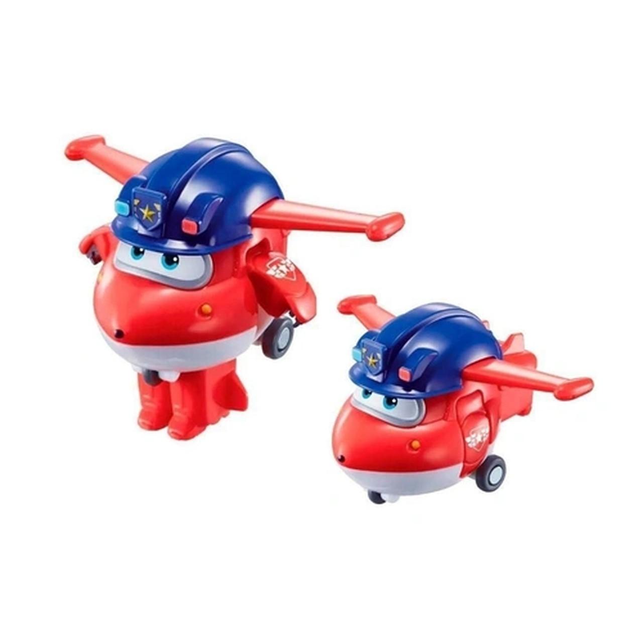 Super Wings Jett Policial - Boneco Transformável 13cm - Fun
