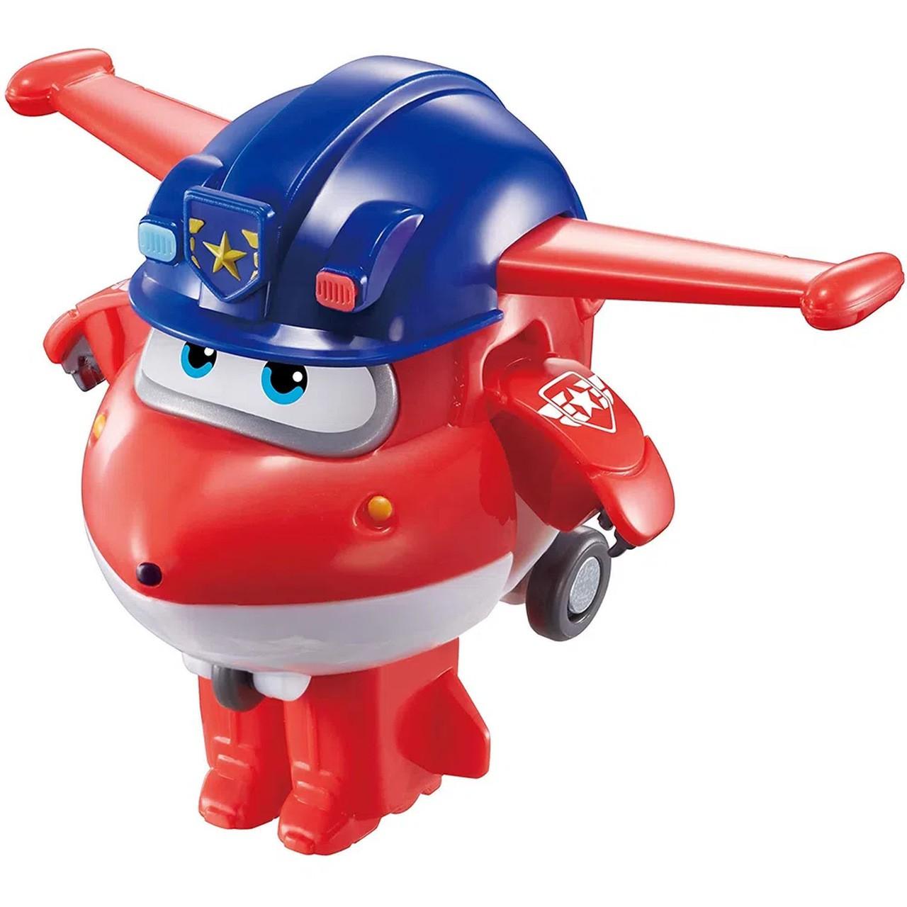 Super Wings Jett Policial - Boneco Transformável 6cm - Fun