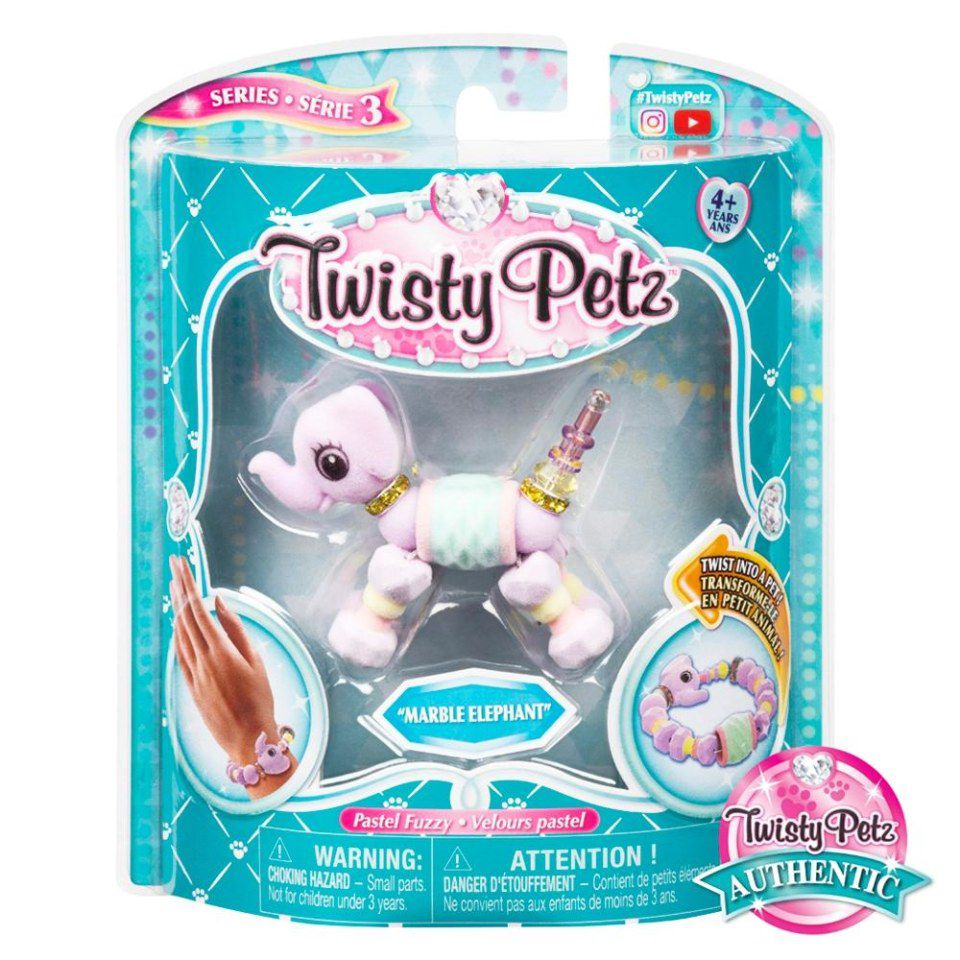 Twisty Petz Pulseira - Single - Marble Elefante -  Sunny