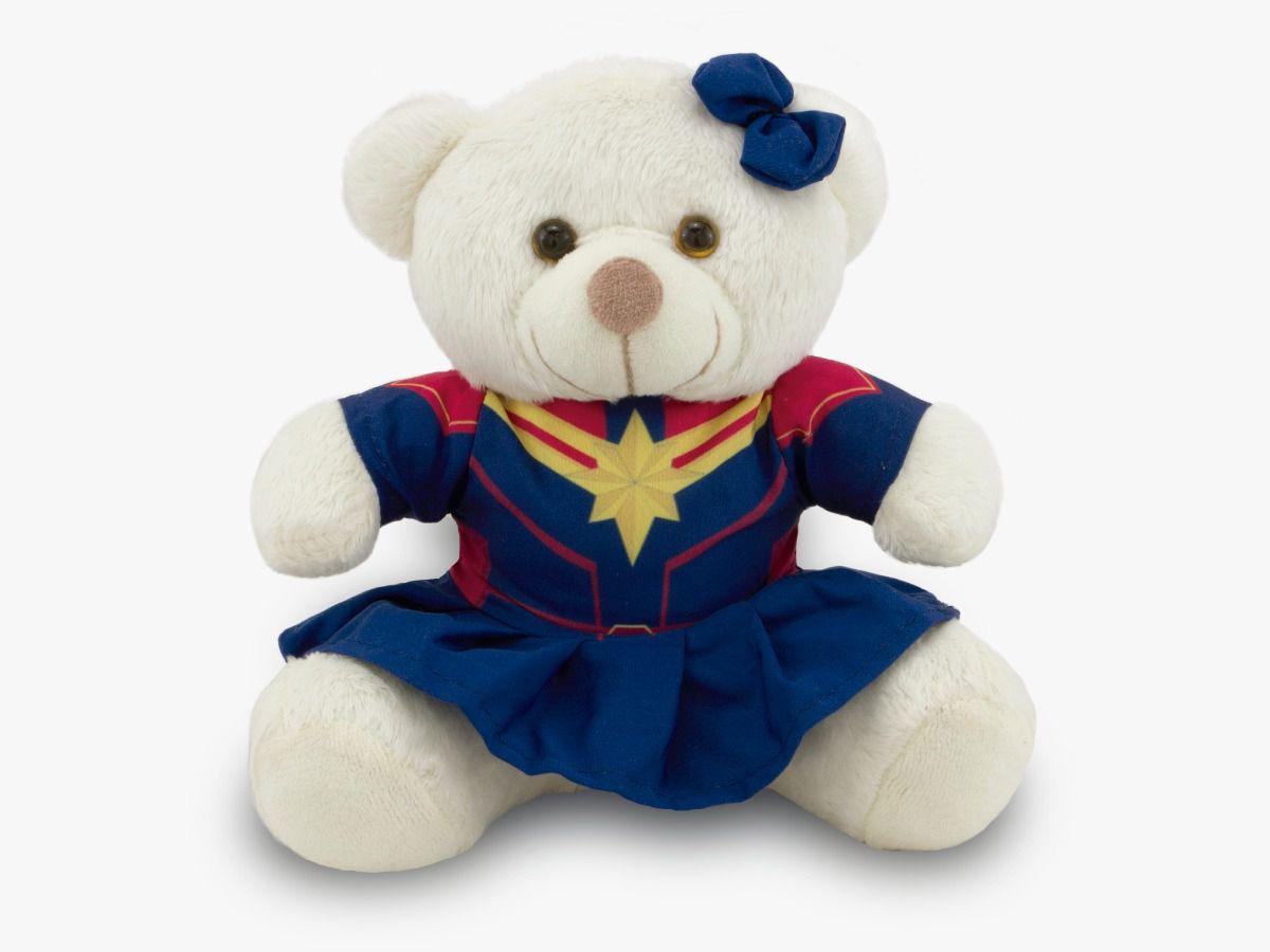 Ursinho Fantasia de Super-Herói Capitã Marvel 30 cm Toybrink