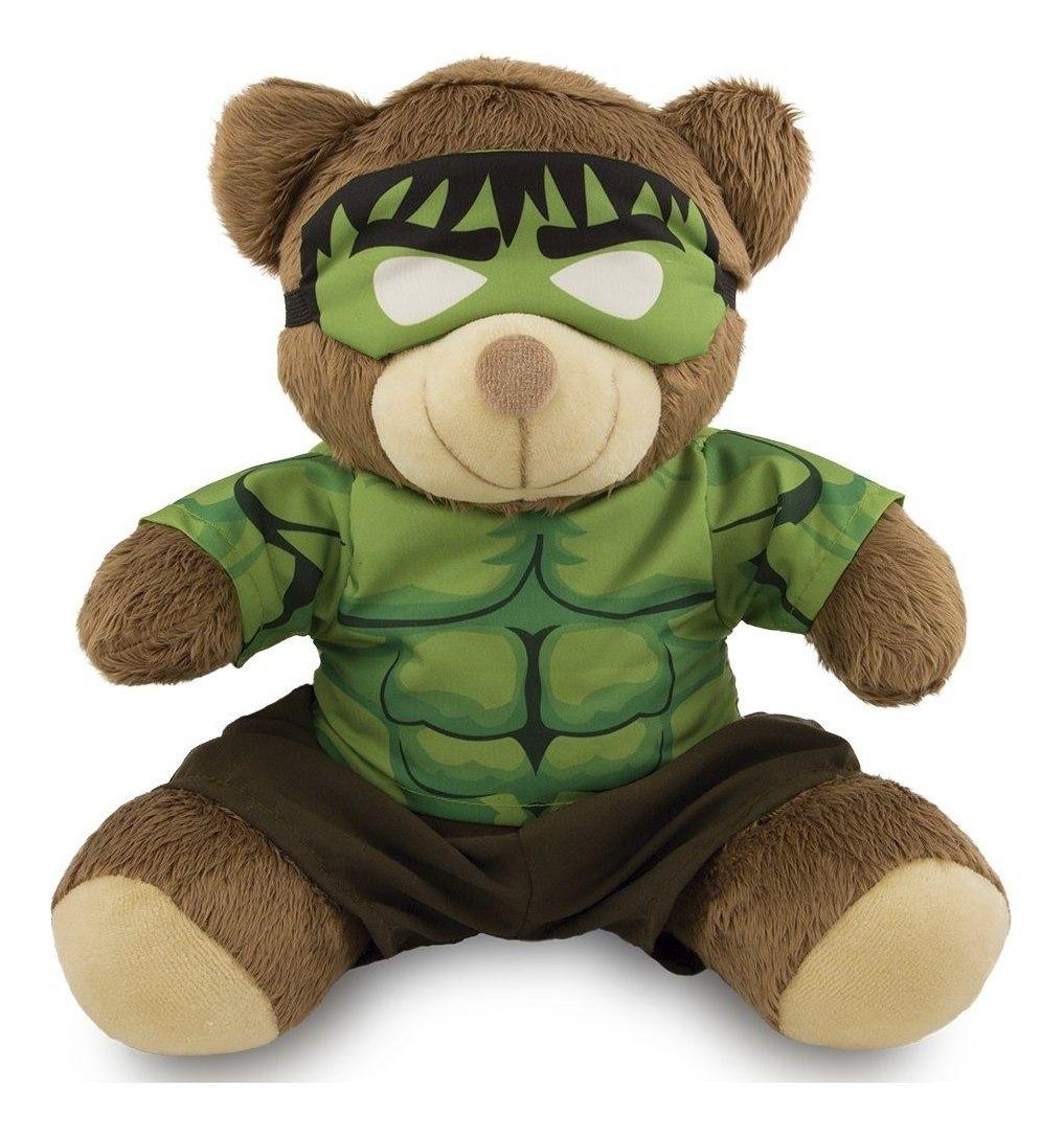 Ursinho Fantasia de Super-Herói - Hulk 30cm - Original Toybrink 0253