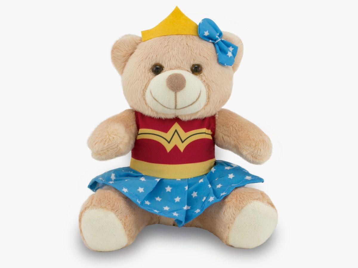 Ursinho Fantasia de Super-Herói - Mulher Maravilha 30 cm
