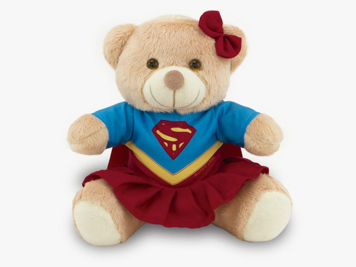 Ursinho Fantasia de Super-Herói - Super Girl 30 cm Toybrink